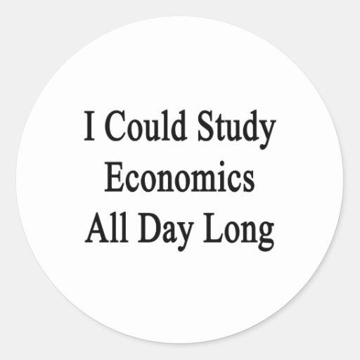 Podría estudiar la economía todo el día pegatinas redondas