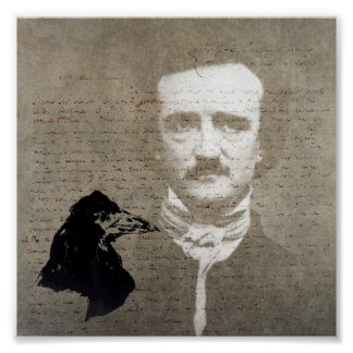 Poe And The Raven Grunge Digital Art Poster