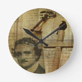 Poe Collage Round Clock