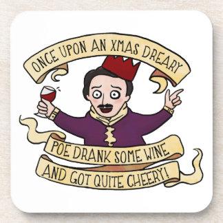 Poe Drank Some Wine And Got Quite Cheery Beverage Coaster