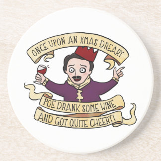 Poe Drank Some Wine And Got Quite Cheery Drink Coaster