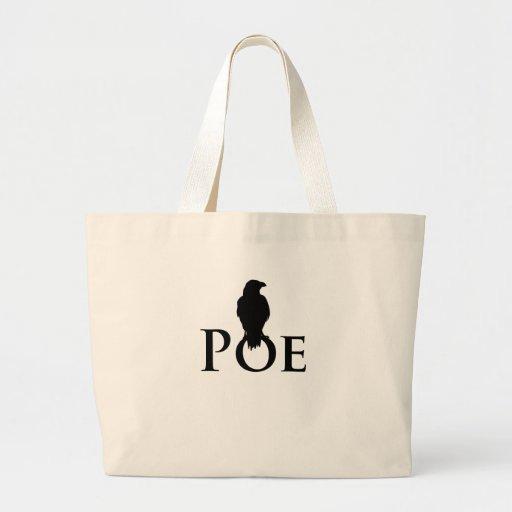 Poe Edgar Allan Poe y el cuervo Bolsa Tela Grande