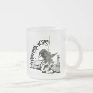 Poe Nevermore Raven Skull & Book 10 Oz Frosted Glass Coffee Mug