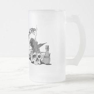 Poe Nevermore Raven Skull & Book 16 Oz Frosted Glass Beer Mug