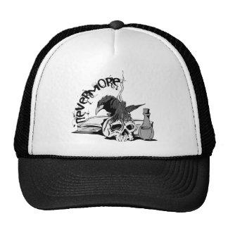 Poe Nevermore Raven Skull & Book Trucker Hat