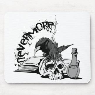 Poe Nevermore Raven Skull & Book Mouse Pad