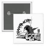 Poe Nevermore Raven Skull & Book Pinback Buttons