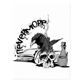 Poe Nevermore Raven Skull Book Postcards