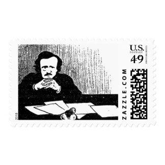 Poe pensativo sello