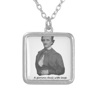 Poe with Frances Osgood Quotation Silver Plated Necklace