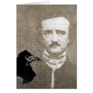 Poe y el arte de Digitaces del Grunge del cuervo, Tarjeta De Felicitación
