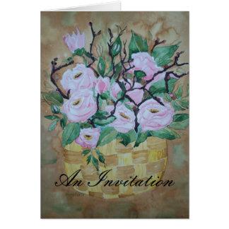 Poem Card Pink Roses in a basket