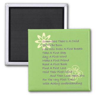 Poem for New Parents Fridge  Magnet (Mod Green)