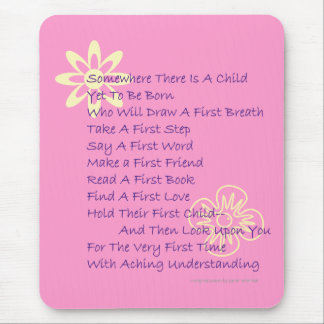 Poem for New Parents Mousepad (Hot Pink)