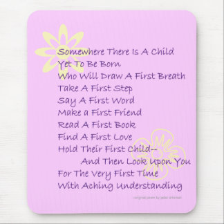 Poem for New Parents Mousepad in Pink