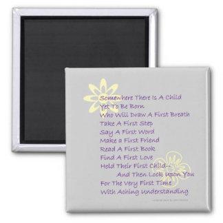 Poem for New Parents Refrigerator Magnet  (Grey)
