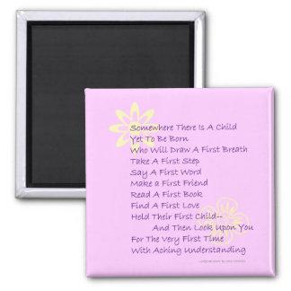 Poem for New Parents Refrigerator Magnet  (Pink)