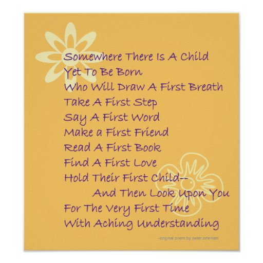 Poem For Parents to Be Poster Zazzle