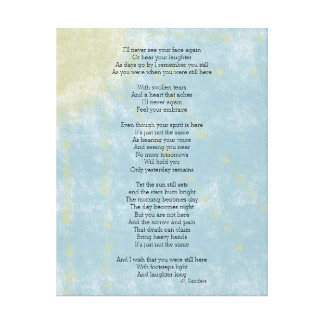 Poem on Loss and Grief Canvas Print