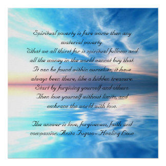poem spiritual power and richness on blue sky poster