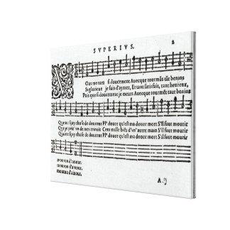 Poem to music by Jean Antoine de Baif Canvas Prints