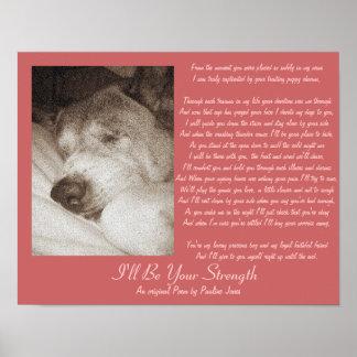 poema animal de la condolencia Akita del perro Poster
