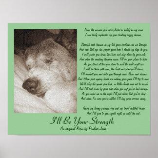 poema animal de la condolencia Akita del perro vie Poster