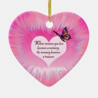 Poema atesorado de la mariposa de las memorias adorno de cerámica en forma de corazón
