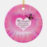 Poema atesorado de la mariposa de las memorias ornamento de navidad