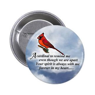 Poema conmemorativo cardinal pin redondo de 2 pulgadas