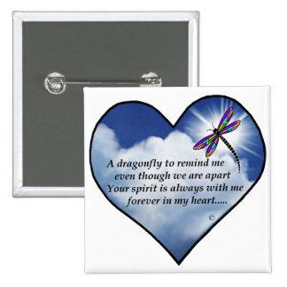Poema conmemorativo de la libélula pin cuadrada 5 cm