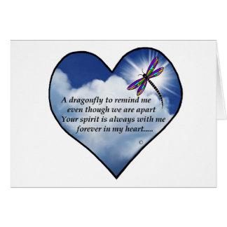 Poema conmemorativo de la libélula tarjeton