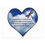 Poema conmemorativo de la libélula tarjetas postales