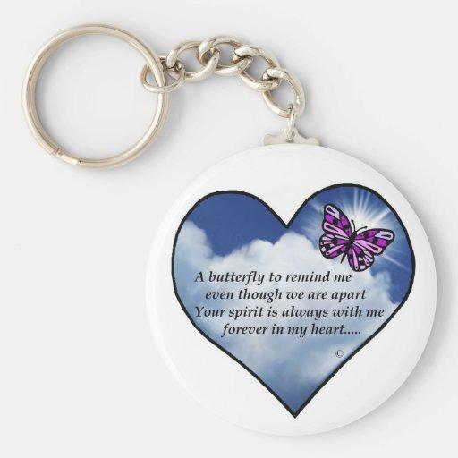 Poema conmemorativo de la mariposa llaveros