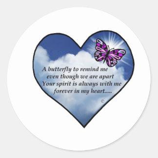 Poema conmemorativo de la mariposa pegatina redonda