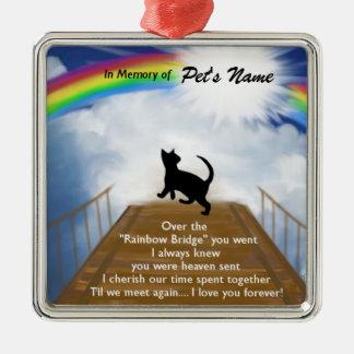 Poema conmemorativo del puente del arco iris para adorno cuadrado plateado