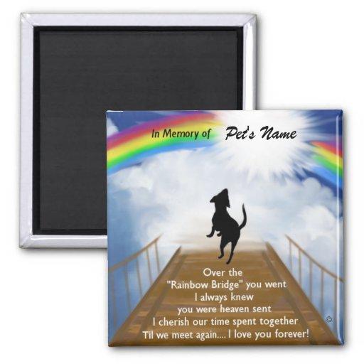 Poema conmemorativo del puente del arco iris para  imán cuadrado