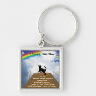 Poema conmemorativo del puente del arco iris para  llavero cuadrado plateado
