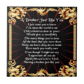 Poema de Brother - diseño negro Azulejo Cuadrado Pequeño