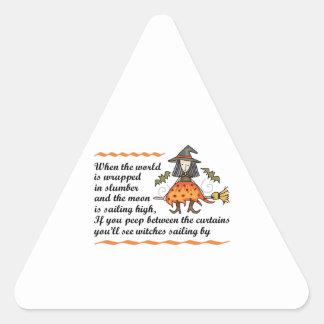 Poema de Halloween Pegatina Triangular