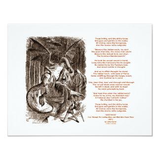 Poema de Jabberwocky de Lewis Carroll Invitación 10,8 X 13,9 Cm