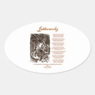 Poema de Jabberwocky de Lewis Carroll serpiente n Pegatinas De Óval Personalizadas