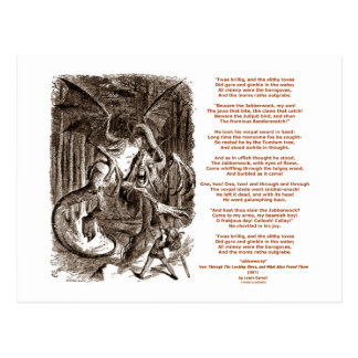 Poema de Jabberwocky de Lewis Carroll Tarjetas Postales