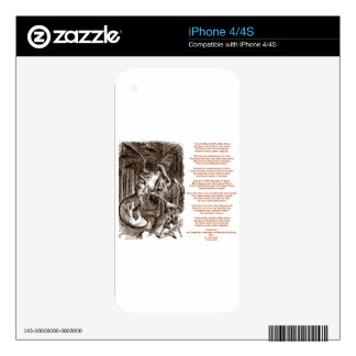 Poema de Jabberwocky (Lewis Carroll con la mirada) Skins Para eliPhone 4S