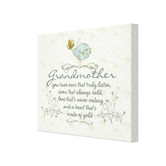 Poema de la abuela con los pájaros impresión en lienzo estirada