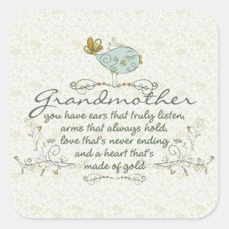 Poema de la abuela con los pájaros pegatina cuadrada