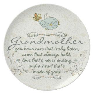 Poema de la abuela con los pájaros plato para fiesta