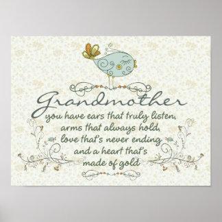 Poema de la abuela con los pájaros póster
