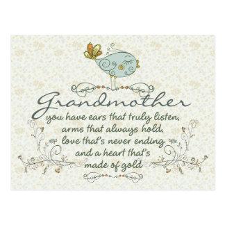 Poema de la abuela con los pájaros tarjeta postal