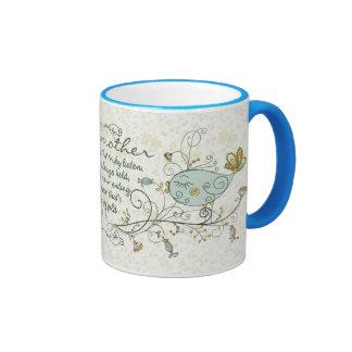 Poema de la abuela con los pájaros taza de café